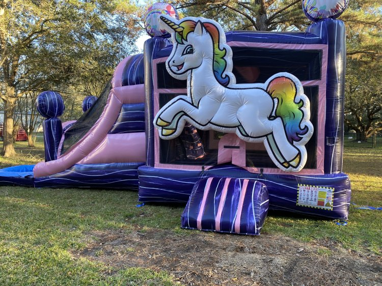 Glitter unicorn bounce house with slide