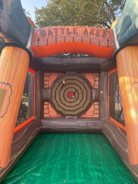 inflatable axe throw game with foam hatchets